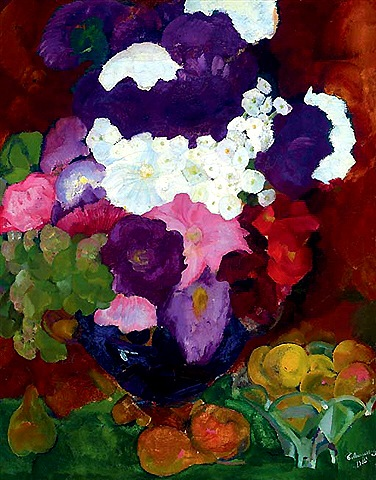 Flowers_in_a_blue_Vase_with_Fruit_in_a_Glas_Bowl_480
